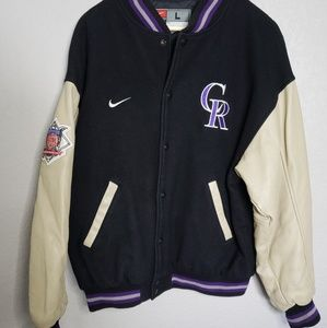 90s style Nike Colorado Rockies Letterman jacket